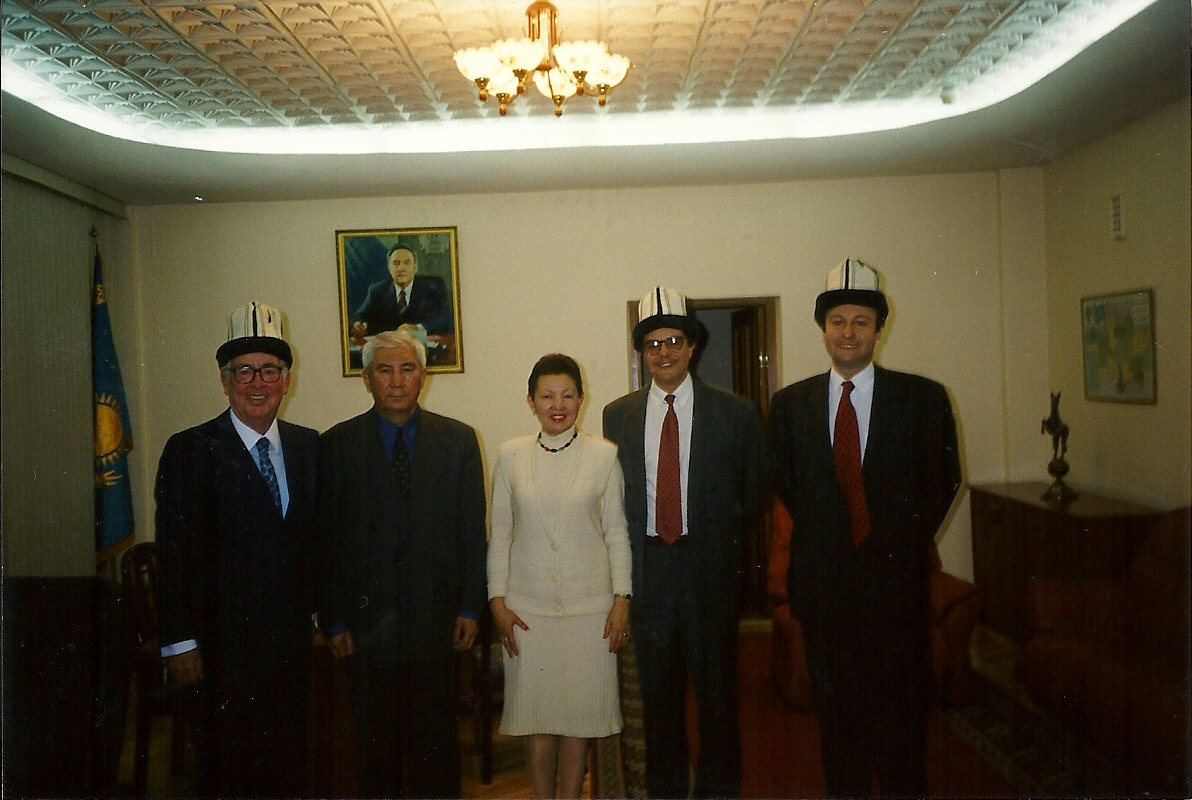 Augusto Soto (on the right) with the authorities of the Diplomatic Academy of Kazakhstan, TACIS Project (EU team), Almaty, January 1999