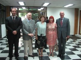 Augusto Soto with authorities of Gabriela Mistral University and Professor Manfred Wilhelmy (Chile Pacific Foundation), Santiago, Chile, January 2010